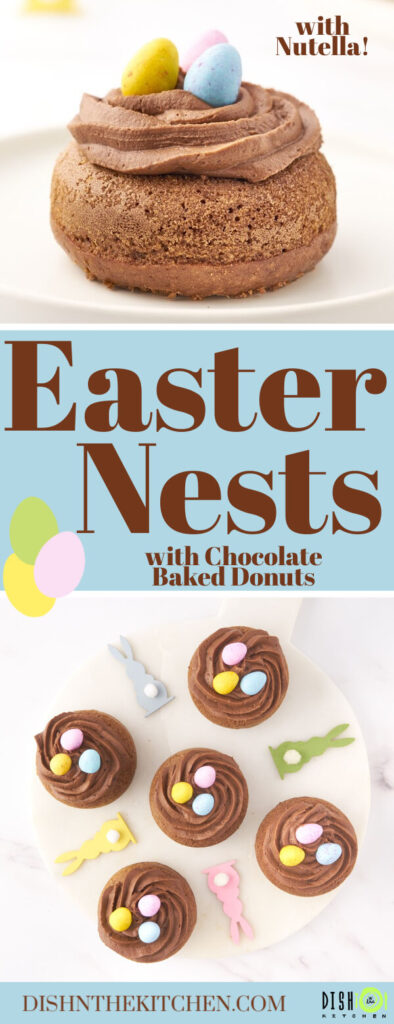 Pinterest image of Chocolate baked donuts decorated as Easter Nests filled with Mini Eggs.