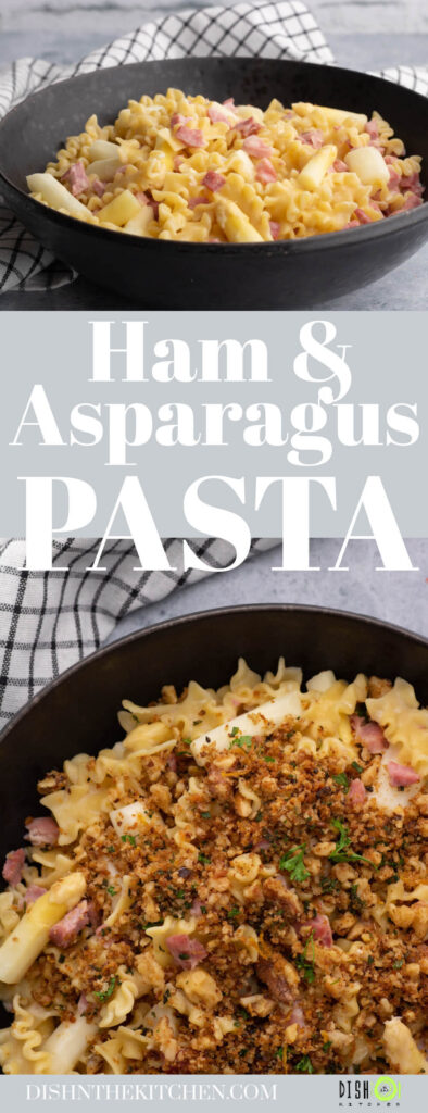 Pinterest image of a bowl of lemon butter pasta with ham and white asparagus topped with golden herbed bread crumbs.