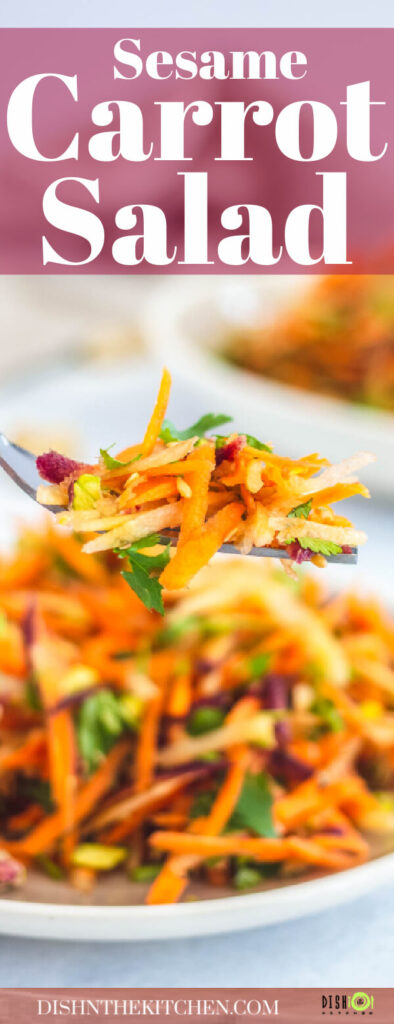 Pinterest image of a fork holding colourful carrot salad over a bowl of salad.