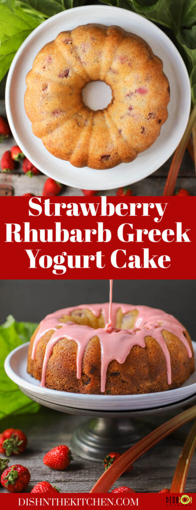 Pinterest image of a strawberry rhubarb Greek yogurt cake, glazed and unglazed.