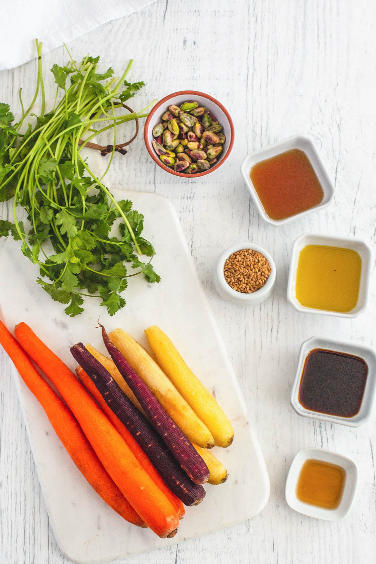 Ingredients for a colourful carrot salad.
