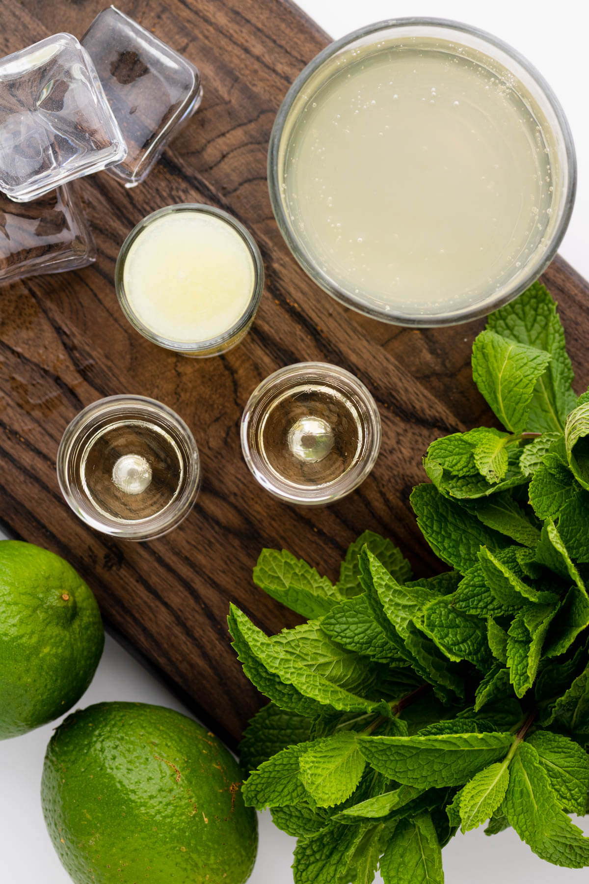 Ingredients used in a classic Moscow Mule recipe.