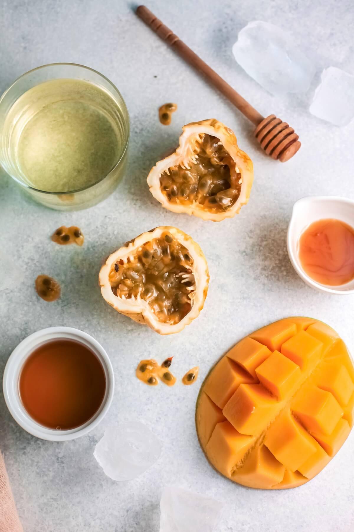Ingredients needed to make Mango Passionfruit Wine Slushies.