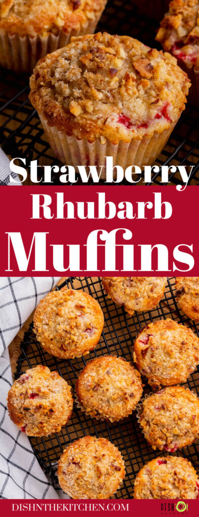 Pinterest image of golden baked strawberry rhubarb muffins cooling on a black round rack.