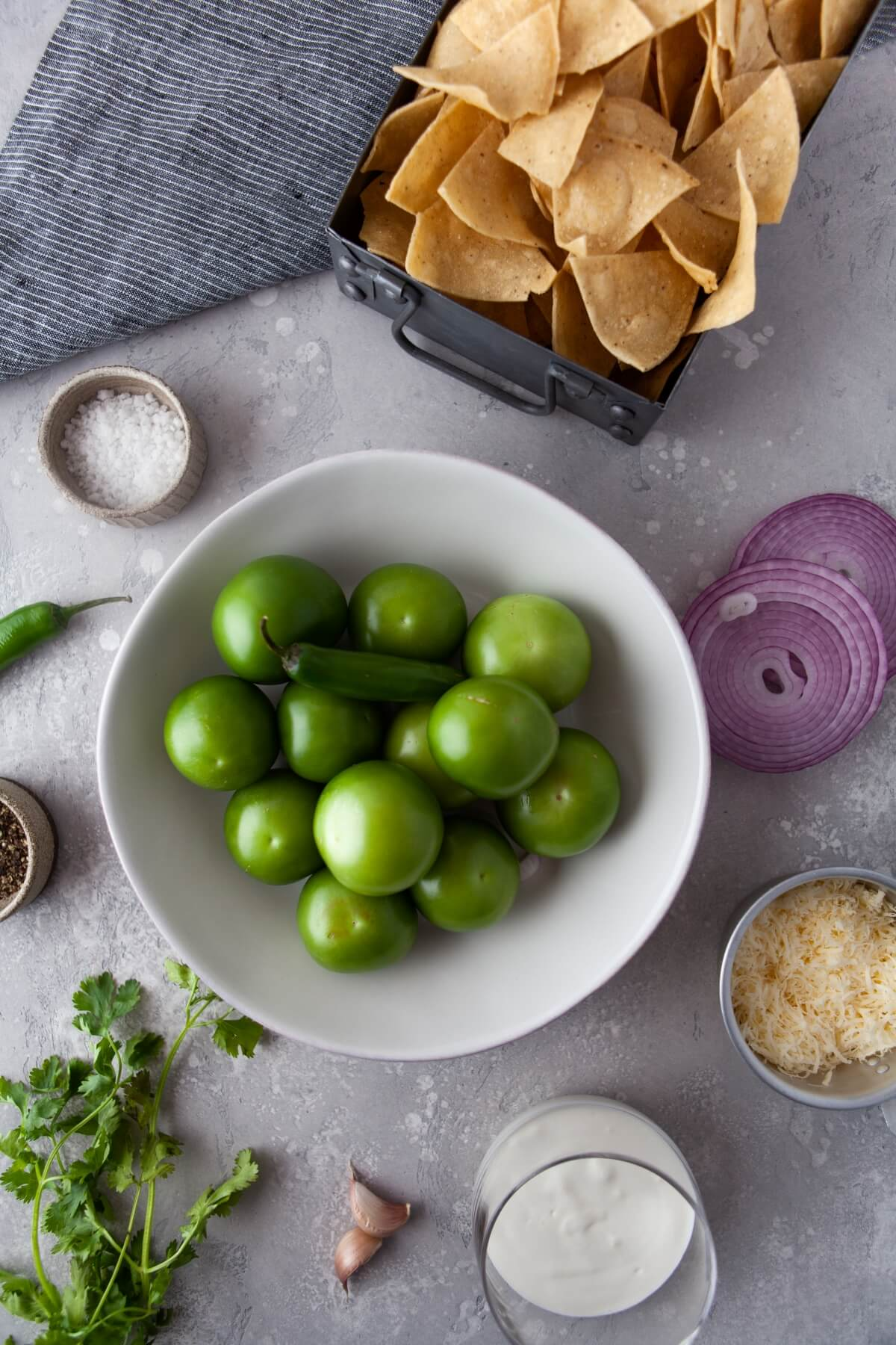 Ingredients used in making Chilaquiles Verdes, a classic Mexican Breakfast.
