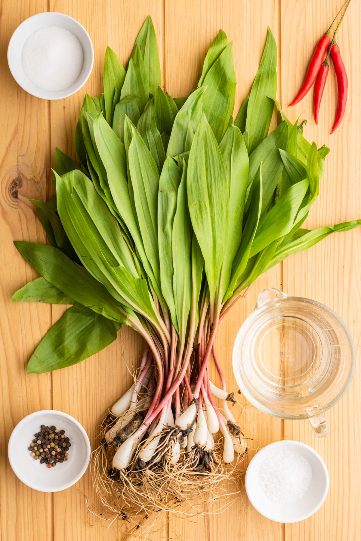 Ingredients used to sweet pickle wild ramps.