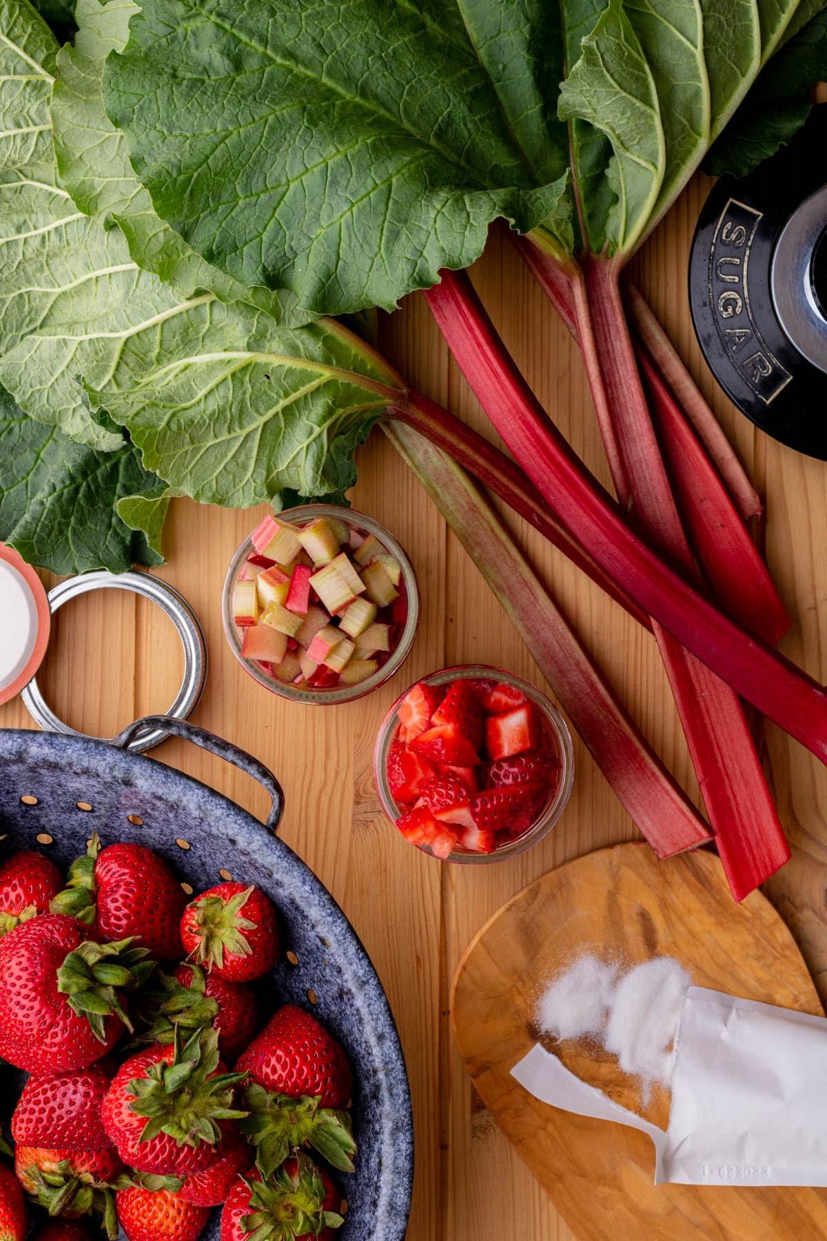 Ingredients used in making Strawberry Rhubarb Jam.