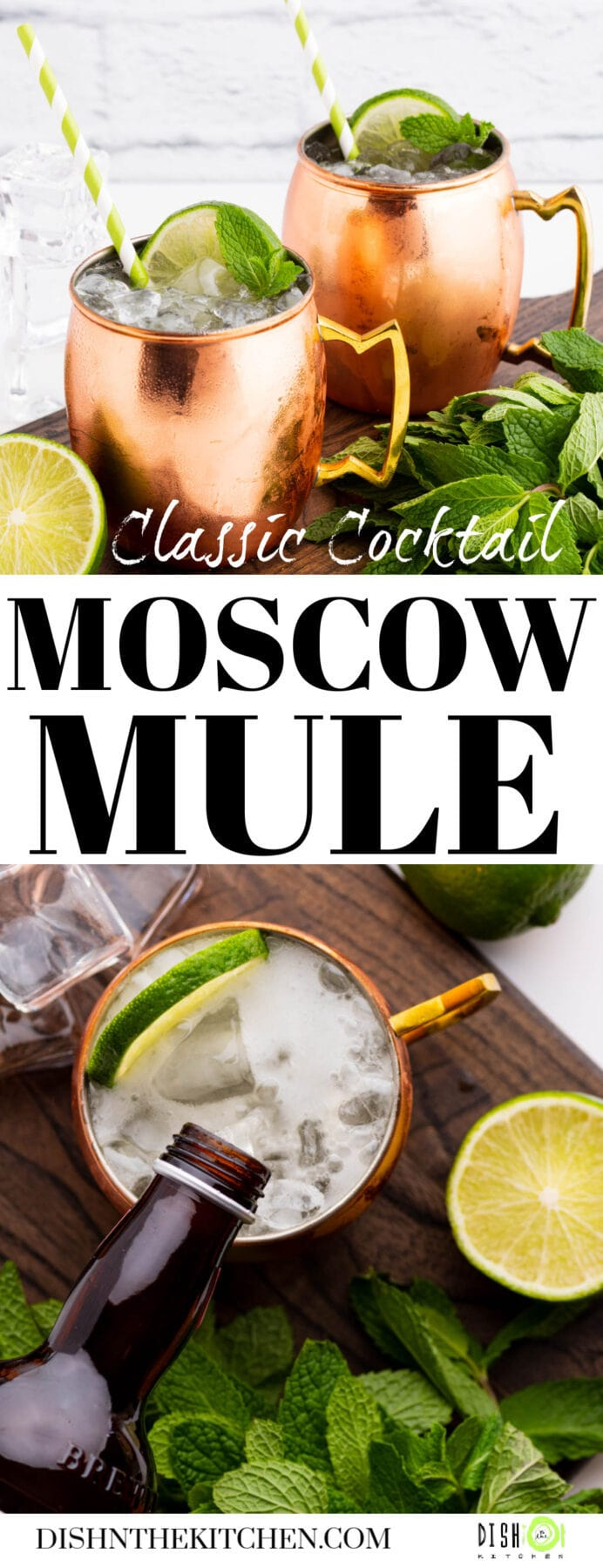 Pinterest image of two icy Moscow Mule cocktails in copper mugs surrounded by lime and fresh mint.