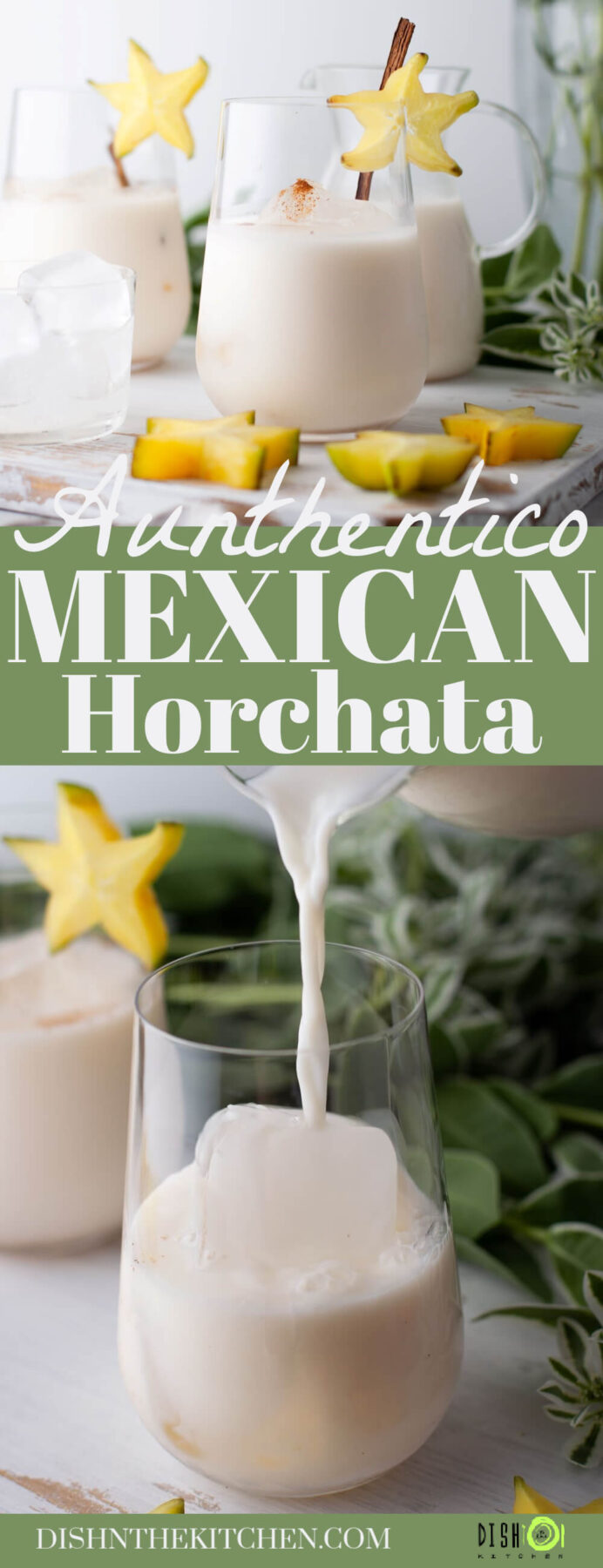 Pinterest image of horchata being strained into a glass pitcher and several glasses filled with horchata garnished with a cinnamon stick and starfruit.