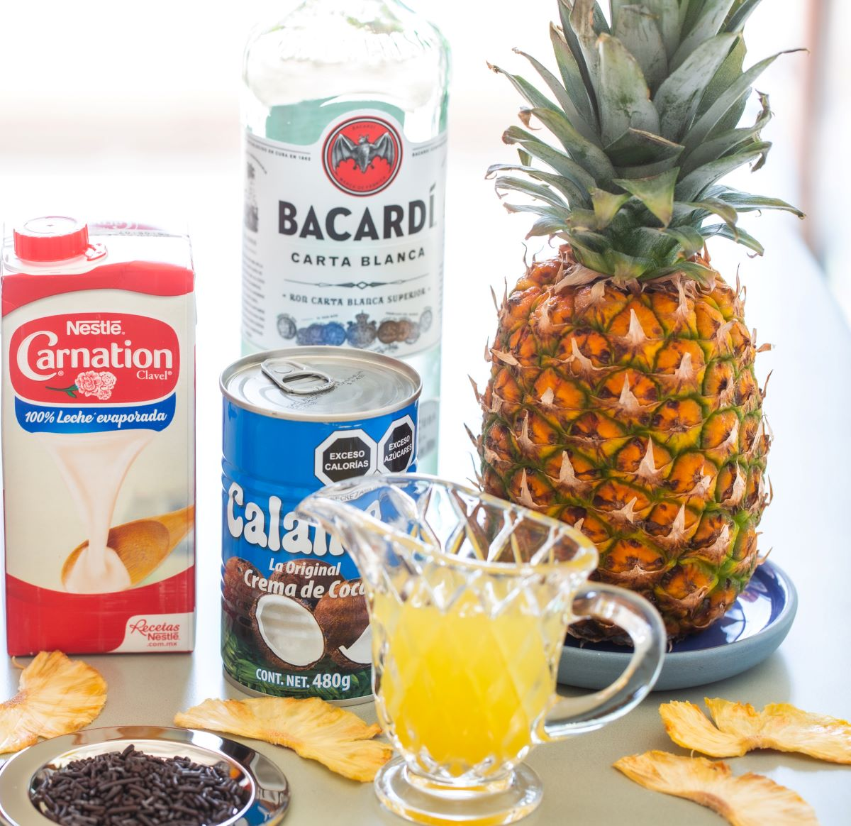 Ingredients used in the Best Pina Colada Recipe.