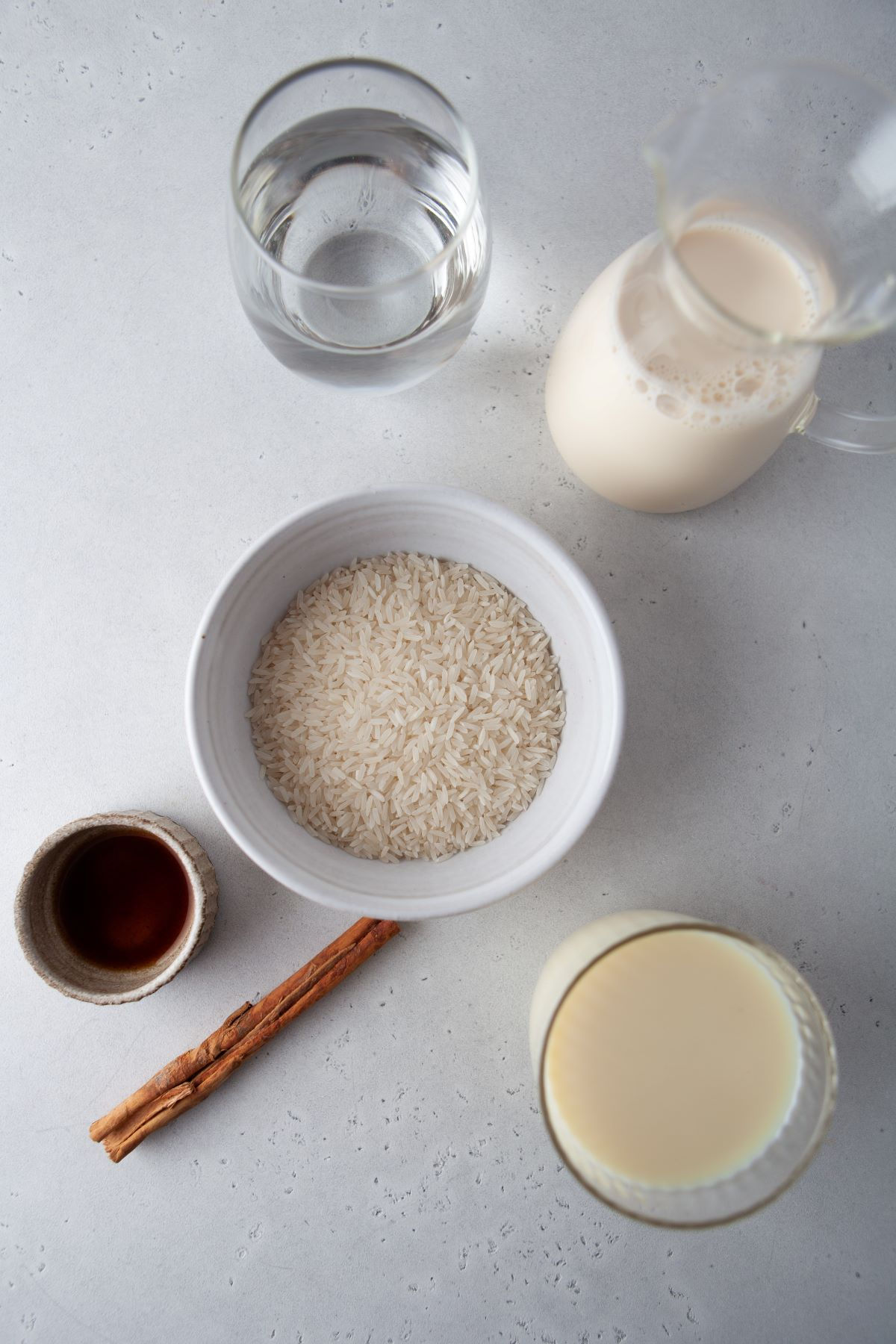 Ingredients used in making homemade horchata.