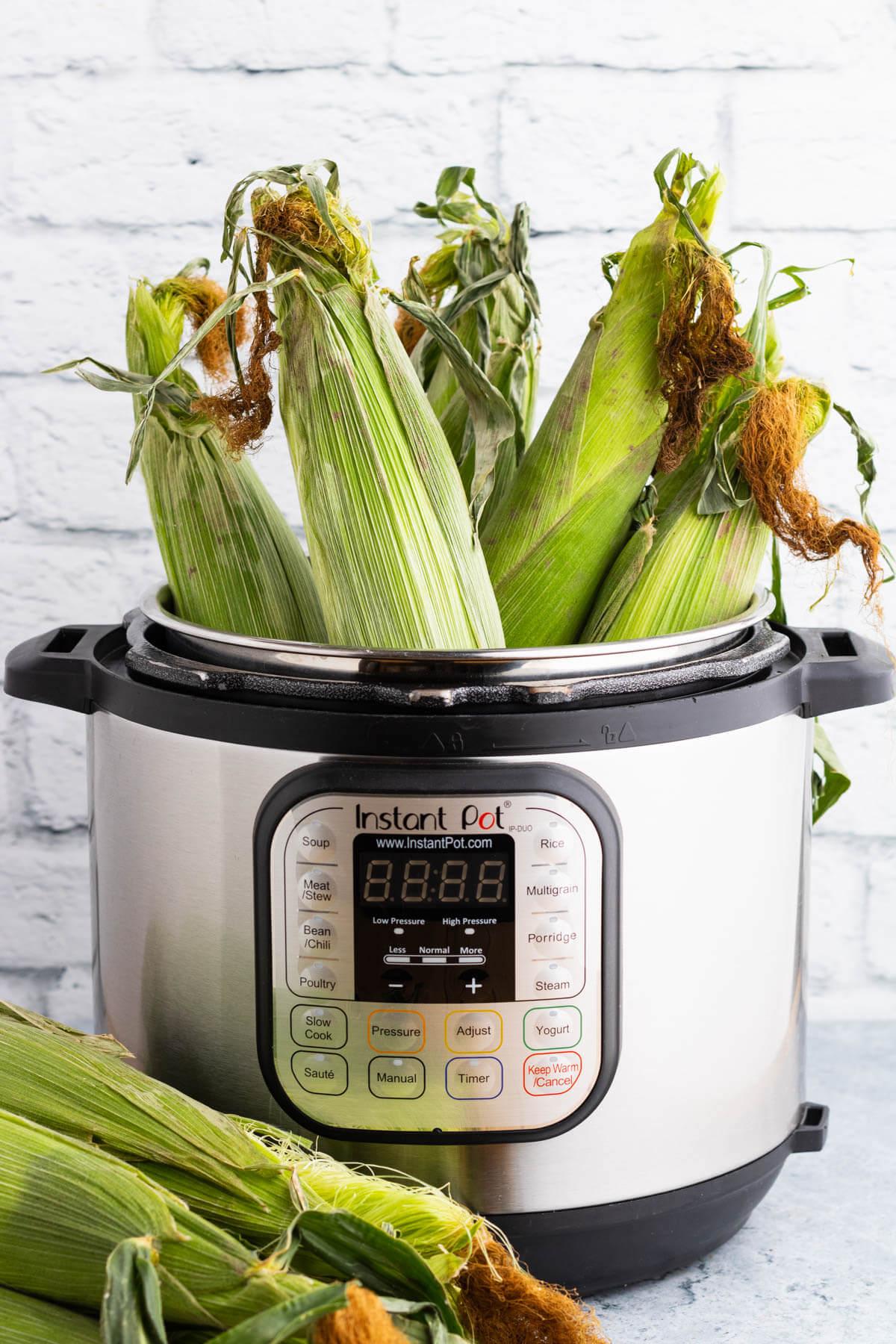Green ears of corn arranged in an open Instant Pot.
