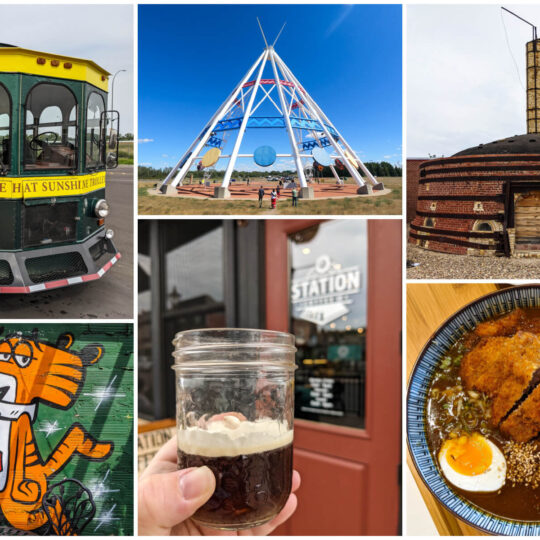 A collection of image showing drinks, eats, and things to do in Medicine Hat, Alberta.