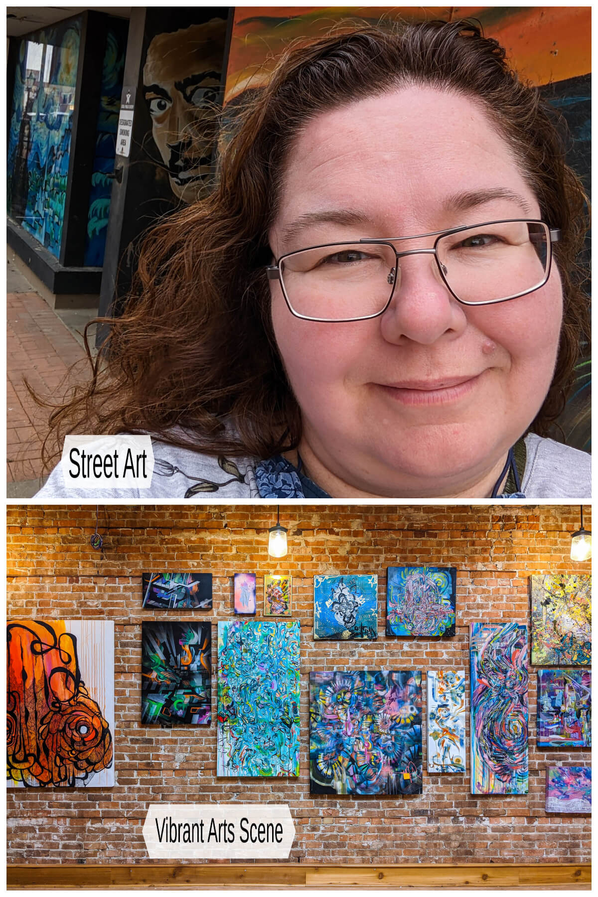 Two images showing art inside and outside in Medicine Hat, Alberta.