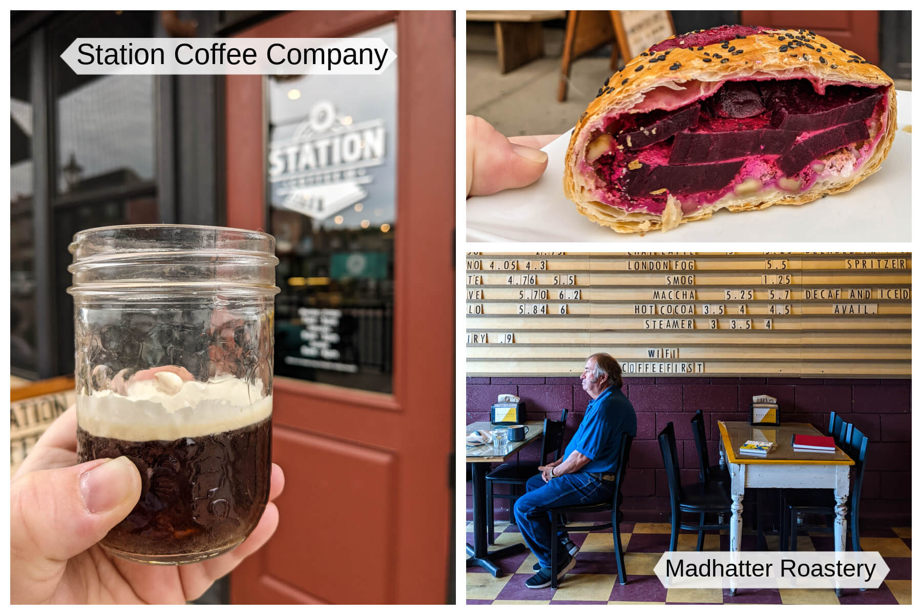 A collection of images showing great eats and coffee treats from Medicine Hat, Alberta.