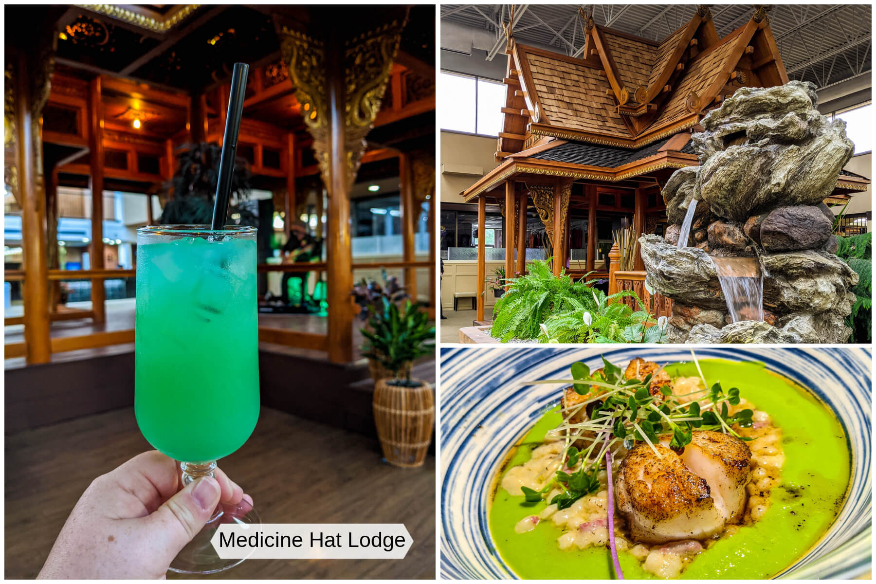 A collection of image showing a cocktail, food, and Thai Pagoda indoors at Medicine Hat Lodge.