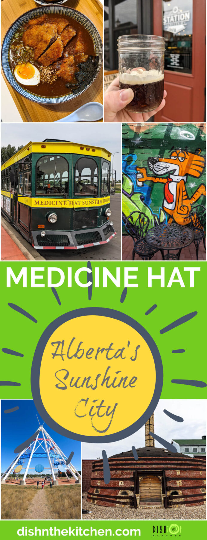 Pinterest image featuring a collection of image showing drinks, eats, and things to do in Medicine Hat, Alberta.
