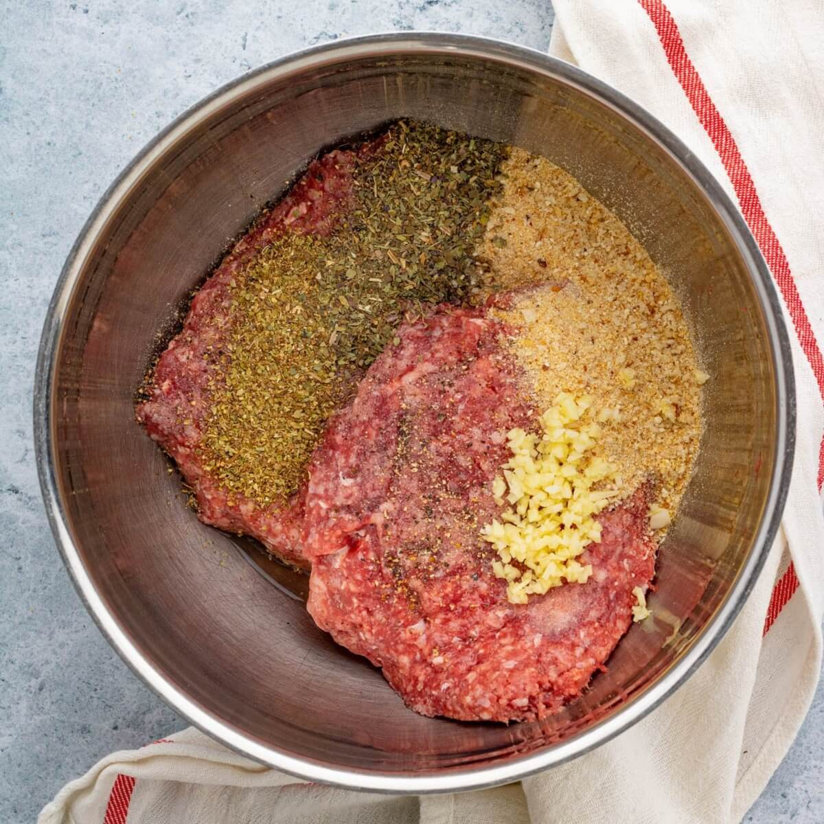 Ingredients required to make Oven Baked Meatballs.